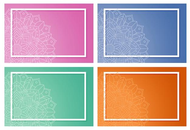 Четыре фона с дизайном мандалы