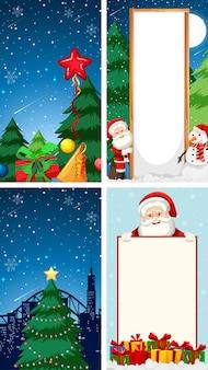 サンタクロースのキャラクターとメリークリスマスのグリーティングカードの背景