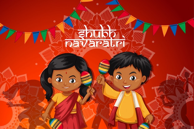 Наваратри постер со счастливыми детьми