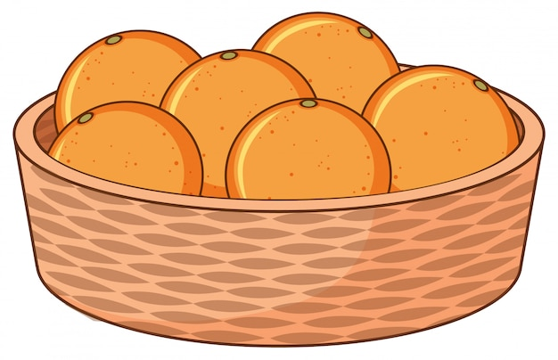 Корзина с апельсинами на белом