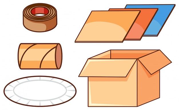 Изолированный набор коробок и бумаги
