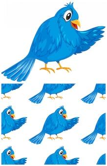 Бесшовные синий рисунок птицы на белом