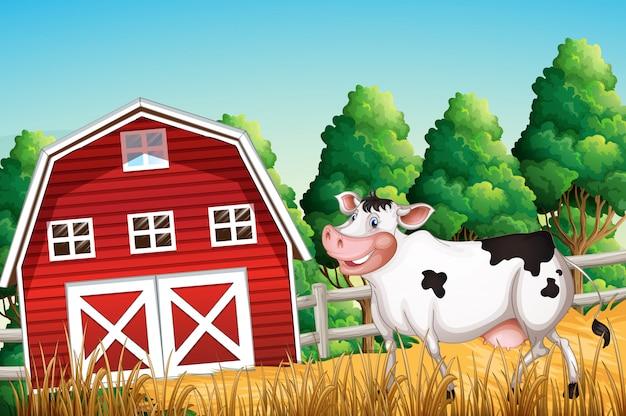 Ферма сцена с коровой