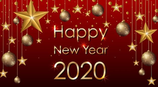 星と幸せな新年の背景デザイン