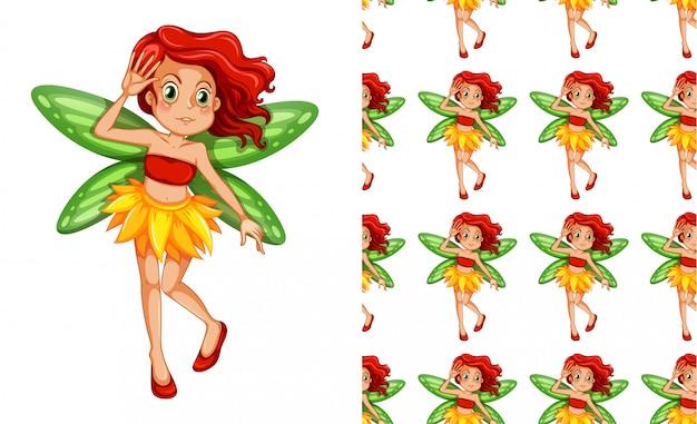 妖精の少女のシームレスパターン