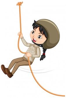 少女登山ロープ