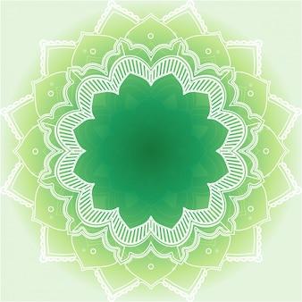 緑の背景にマンダラデザイン