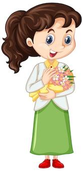 美しい花を持つ少女