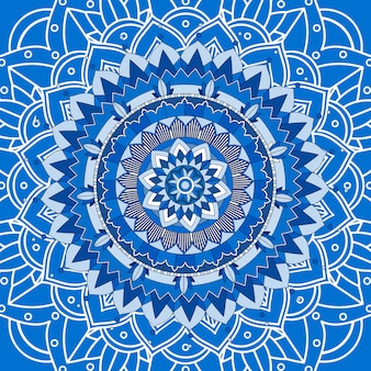 Мандала дизайн на синем фоне
