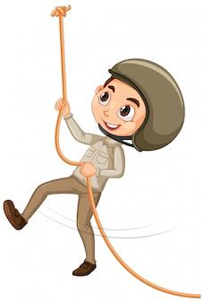 Мальчик, восхождение на веревку