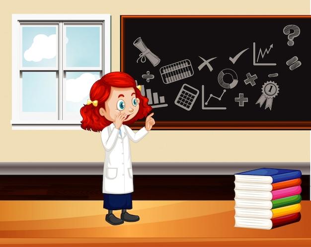 黒板に書く科学者