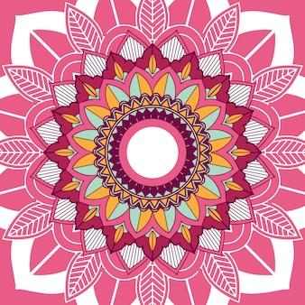 Мандала дизайн на розовом фоне