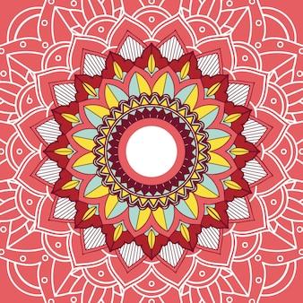 赤い色のマンダラのデザイン
