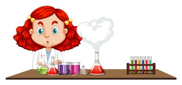 科学者がテーブルで化学実験を行う