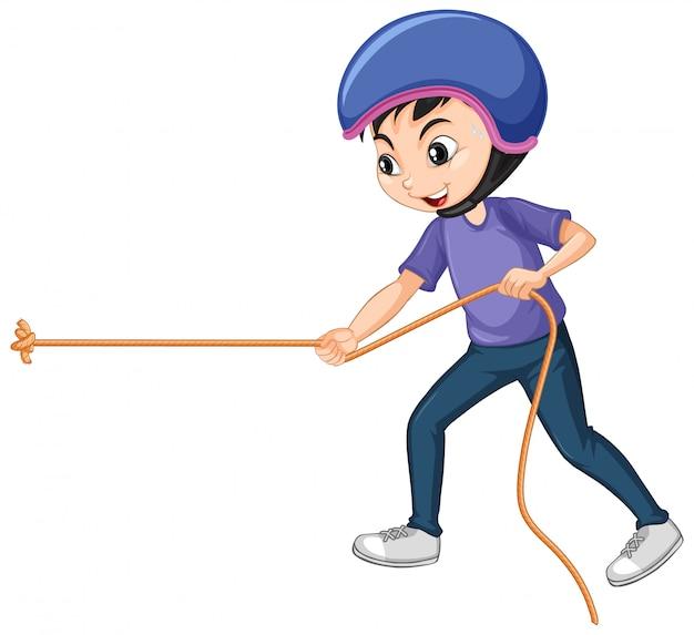 ロープを引っ張る少年