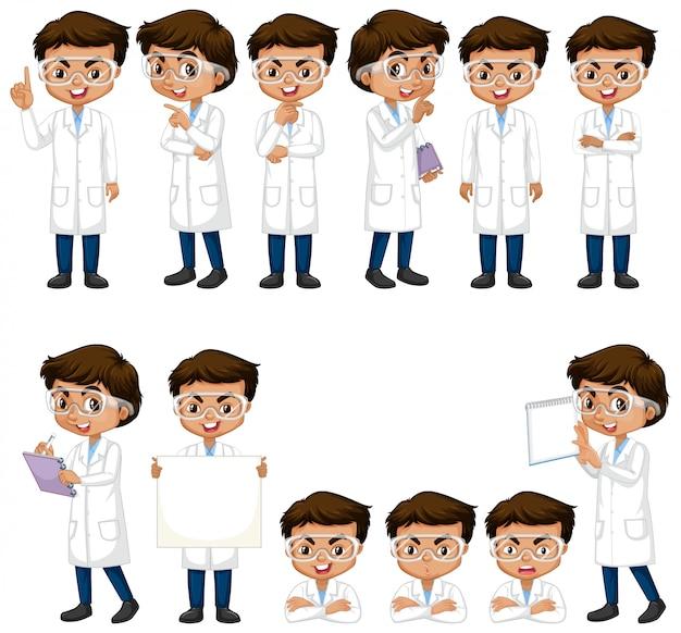 さまざまなポーズをしている科学のガウンの少年