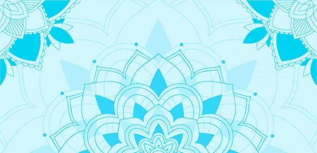 青の背景にマンダラデザイン