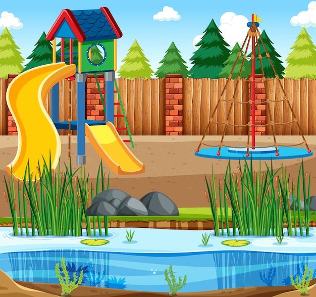 Иллюстрация сцена игровая площадка с горкой и прудом