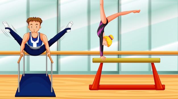 Сцена с двумя людьми, занимающимися гимнастикой в комнате