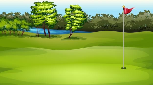 ゴルフ場のイラストシーン
