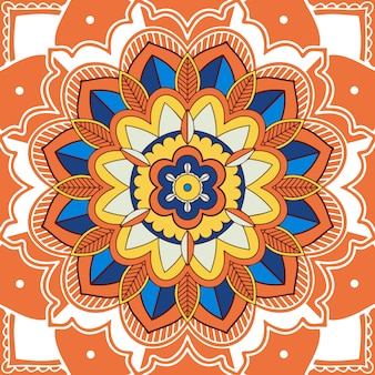 Мандала дизайн на оранжевый цвет