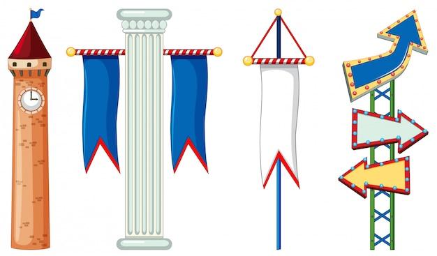 Отдельные объекты с флагом и стрелкой
