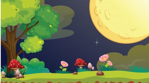 Ночной парк сцена с полной луной