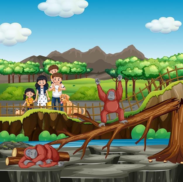 Сцена с семьей, посещающей зоопарк