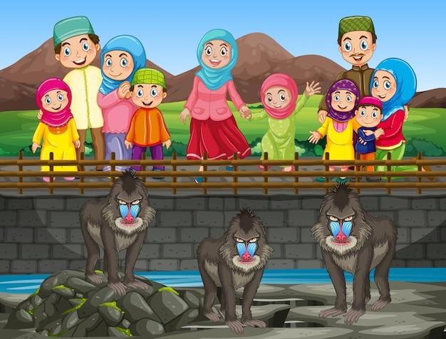 Сцена с людьми, посещающими зоопарк
