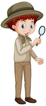 Мальчик с увеличительным стеклом на белом