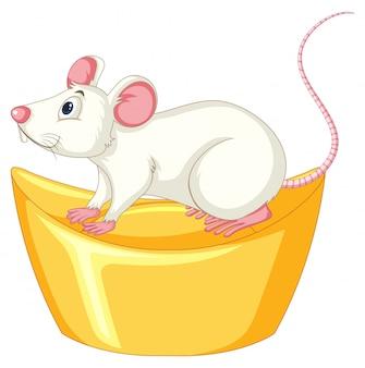 Белая крыса на китайском золотом слитке