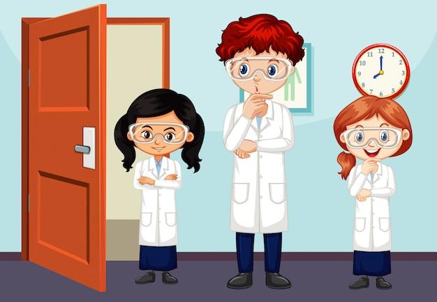 Классная сцена с учителем и учениками внутри