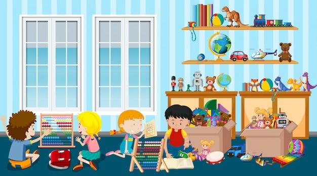 多くの子供たちが部屋でおもちゃを遊んでいるシーン