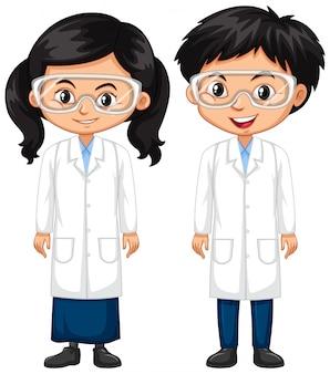 男の子と女の子の科学のガウン