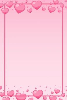フレームの周りにピンクのハートのバレンタインテーマ