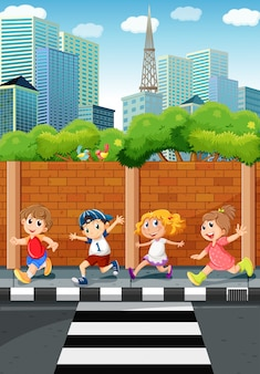 歩道を走る子供たち