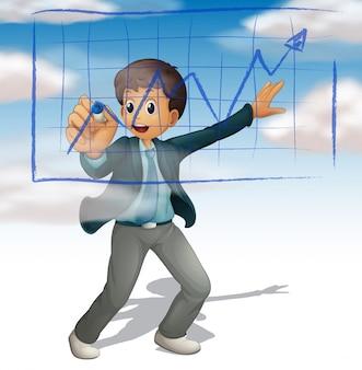 空を背景にグラフを書くビジネスマン
