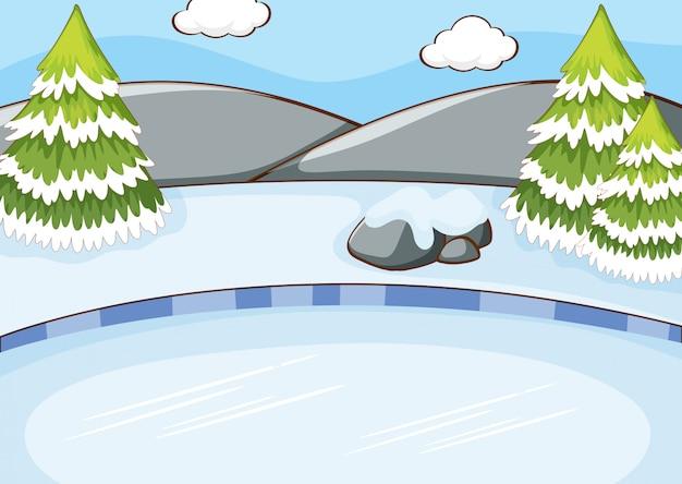 フィールドに雪が降る背景シーン