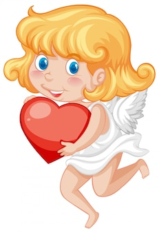 かわいいキューピッドと赤いハートのバレンタインテーマ