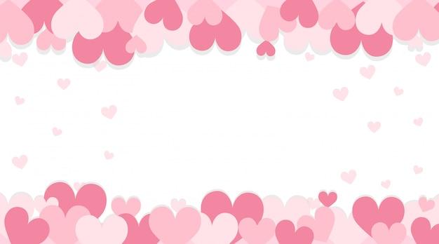ピンクの心とバレンタインの背景