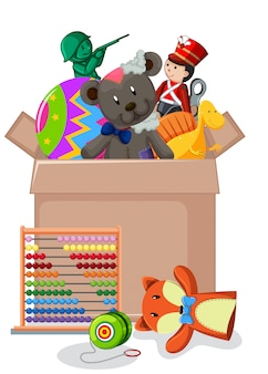 おもちゃでいっぱいの段ボール箱