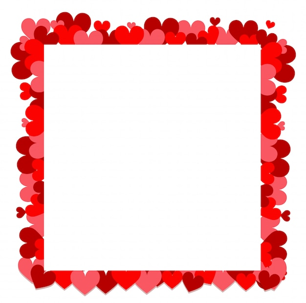 フレームの周りの小さな赤いハートのバレンタインテーマ