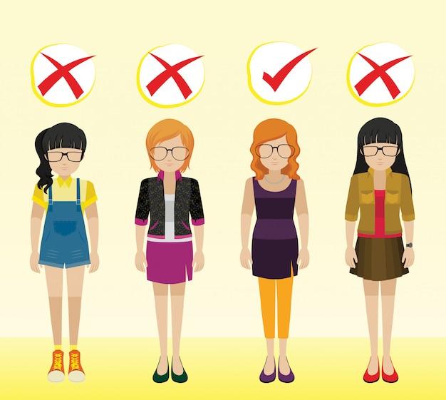 Девушки с разными нарядами