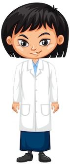分離された科学のガウンの女の子