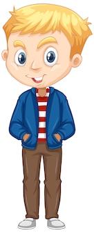 分離の青いジャケットの少年