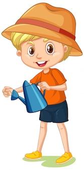 分離した水まき缶を持つ少年