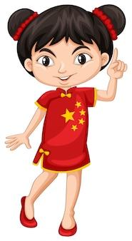 伝統的な衣装で中国の女の子