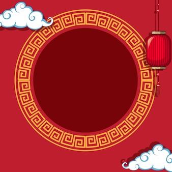 中国のパターンの背景に円形フレーム