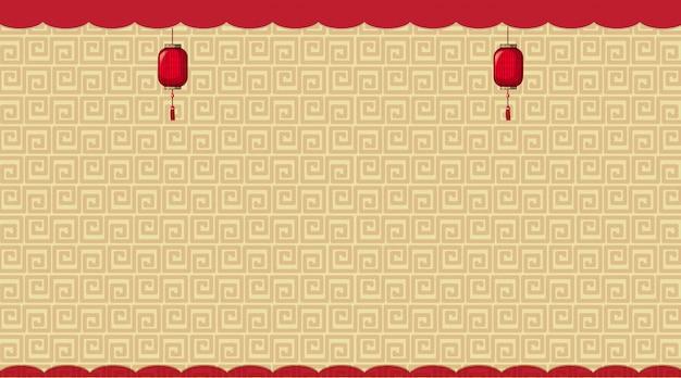 茶色の中国パターンの背景