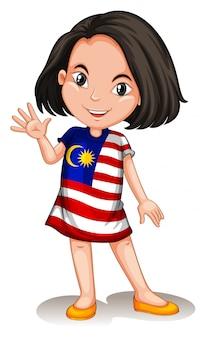 こんにちは手を振っているマレーシアの女の子